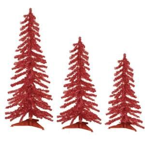 Sterling, Inc. 2 3 4 ft. Pre Lit Red Tinsel Alpine Artificial Christmas Tree with Red Lights (Set of 3) 2704 234r