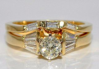 Diamond Ladies Wedding Set Baguette and Center Round Diamond 1ct 14k Yellow Gold Jewelry