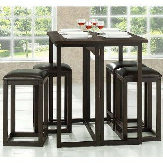 Baxton Studio Leeds 5 Piece Wood Collapsible Pub Table Set, Brown   Small Kitchen Table