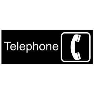Telephone White on Black Engraved Sign EGRE 590 SYM WHTonBLK  Business And Store Signs