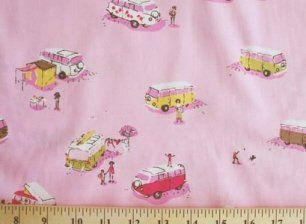 Rare Heather Ross VW Volkswagon Bus Lightning Bugs Pink Cotton Fabric Print by the yard (FP6491X 591)