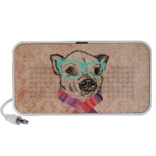 Funny Cute Pig Illustration Teal Hipster Glasses Notebook Speaker