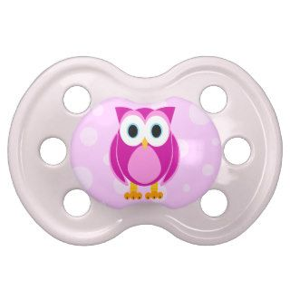 Cute Cartoon Owl   Pink Baby Pacifier