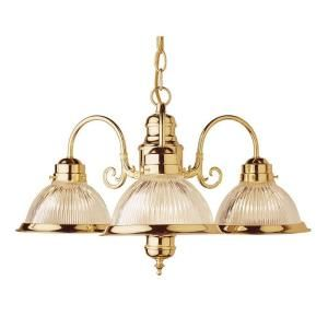 Filament Design Cabernet Collection 3 Light Polished Brass Chandelier with Clear Ribbed Shade CLI WUP510950