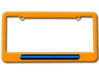 Thin Blue Line   Police License Plate Tag Frame   Color Orange Automotive