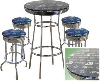 DALLAS COWBOYS NFL Football Glass Top Chrome Bar Pub Table Set With 4 Swivel Bar Stools   Home Bars