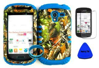 Hybrid Impact Rugged Cover Case Camo Mossy Green Leaves Hunter Series on Blue Skin for 2013 Release Samsung Galaxy Exhibit 4G T599 (Included Screen Protector, Wristband and Pry Tool Exclusively By Wirelessfones TM) Cell Phones & Accessories