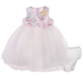 Cherokee Infant Toddler Girls Sleeveless Floral Top Empire Dress   Soft Pink 2T