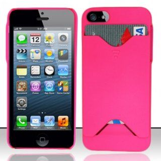 For iPhone 5 (AT&T/Verizon/Sprint/Cricket) Rubberized Cover w/ ID Slot   Hot Pink ID Cover Cell Phones & Accessories