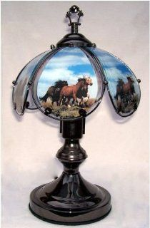 OK LIGHITNG OK 603C HO6 SP3 14.25 in. Running Horses Small Touch Lamp   Table Lamps