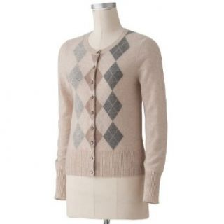Apt 9 Womens Long Sleeve 100% Cashmere Cardigan Sweater   Tan Argyle   XLarge