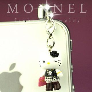 ip608 Luxury Hello Kitty 3D Charm Anti Dust Plug Cover For iPhone 4 4S Galaxy Cell Phones & Accessories