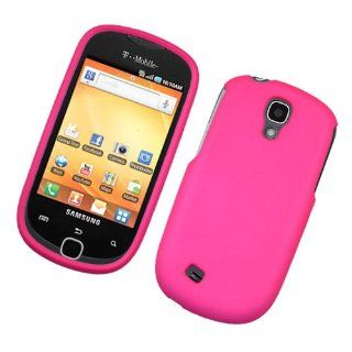 For T Mobil Samsung Gravity Smart T589 Accessory   Rubber Hot Pink Hard Protective Hard Case Cover Cell Phones & Accessories