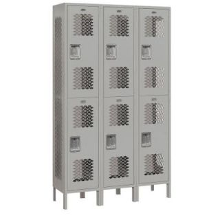 Salsbury Industries 82000 Series 45 in. W x 78 in. H x 15 in. D 2 Tier Extra Wide Vented Metal Locker Unassembled in Gray 82365GY U