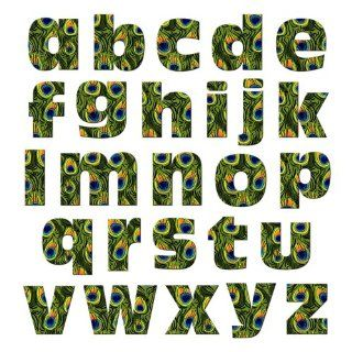 Graphics and More Alphabet Letters Lowercase Novelty Gift Locker Refrigerator Vinyl Magnet Set, Peacock Print Animals