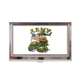 Business Card Case Holder Camouflage Army with Helicopter Tank Hummer Gear and US Flag