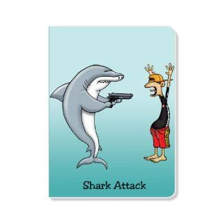ECOeverywhere Shark Attack Journal, 160 Pages, 7.625 x 5.625 Inches, Multicolored (jr11013)  Hardcover Executive Notebooks