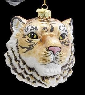 Kurt Adler Ornaments NB0472 Noble Gems Tiger Head Ornament  Decorative Hanging Ornaments