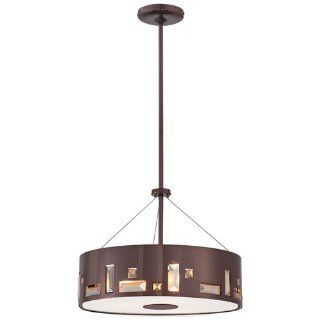 Kovacs P1092 631 4 Light Drum Pendant in Chocolate Chrome from the Bling Bang Collection, Chocolate Chrome   Ceiling Pendant Fixtures
