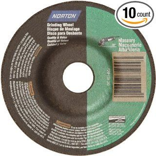 "Norton Masonry Depressed Center Abrasive Wheel, Type 27, Silicon Carbide, 7/8"" Arbor, 4 1/2"" Diameter x 1/8"" Thickness (Pack of 10) Abrasive Cutoff Wheels"