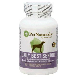 Pet Naturals of Vermont Daily Best Senior Multi vitamin For Dogs Natural Hickory Smoke    60 Chewables  Pet Multivitamins