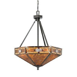 Quoizel NX627CVB Mission Diamond 3 Light Chandelier from the Museum of New Mexico Collection with Amber Glow Mica and Tiffany Glass Shade, Vintage Bronze