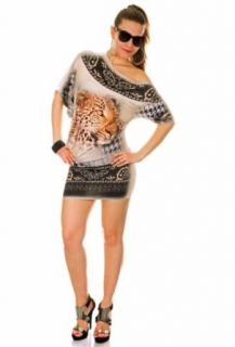 Glamour Empire Women's Leopard Print Mini Dress Short Sleeve 651 One Size Beige