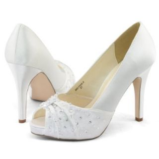 Shoezy Womens White Satin Beads Wedding Dress Peep Toe Platform Heels Shoes Pump Size US 11 Shoes