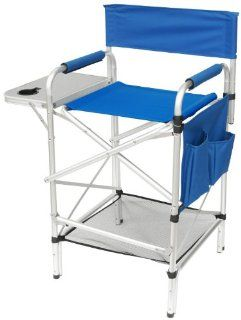 "World Class Tall ""SPLIT BACK ROYAL BLUE"" Heavy Duty Folding Directors Chair with Side Table, Cup Holder, Foot Rest, Dual Pocket Side Storage Bag, AND NEW UNDER SEAT STORAGE NET Sports & Outdoors"