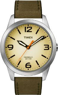 Timex Men's T2N632 Weekender Classic Casual Olive Leather Strap Watch Timex Watches