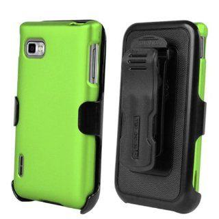 LG Optimus F3 MS659 / P659 Apple Green Full Armor Protector Cover Hard Case + Multi Position Holster + NakedShield Invisible Screen Protector Cell Phones & Accessories
