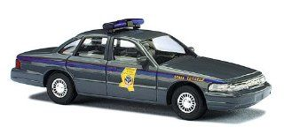 BUSCH, DIE CAST MODEL, HO SCALE, 1/87, FORD CROWN VICTORIA, W/MISSISSIPPI STATE POLICE MARKINGS, GREY Toys & Games