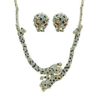 Panther Austrian Crystal Necklace Earrings Set Black Enamel Jewelry Sets Jewelry