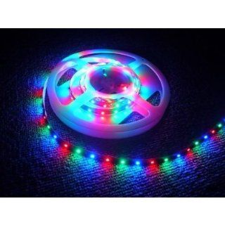 Hitlights 16.4ft Chasing Feature 3 Colors 3528 RGB Waterproof 300 LED Flexible Light Strip with Power Supply and 9 Dynamic Modes Remote Control   String Lights