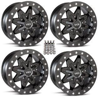 "MSA M16 Vice ATV Wheels/Rims Black 14"" Honda Rincon Yamaha Rhino Kawasaki Brute Force Suzuki KingQuad (4) Automotive"