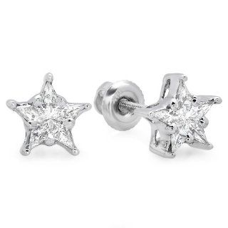 0.30 Carat (ctw) 14k White Gold Kite Noble Cut Diamond Ladies Star Shaped Cluster Earrings 1/3 CT Stud Earrings Jewelry