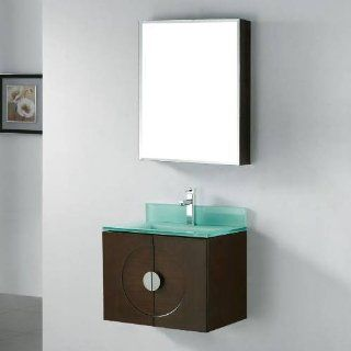 "Genova 24"" Wall Mounted Bathroom Vanity Set with Glass Top Sink Finish Ocean Blue"