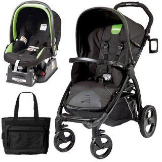 Peg Perego Book Stroller Travel System with a Diaper Bag   Nero Energy Black with lime green piping  Infant Car Seat Stroller Travel Systems  Baby