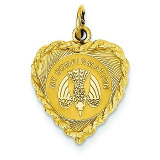 14K Yellow Gold My Confirmation Heart Charm Pendant Jewelry