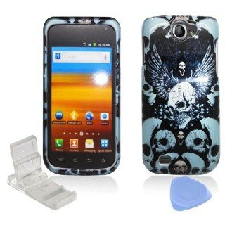 Black Blue Skulls Design Snap on Hard Plastic Cover Faceplate Case for Samsung Exhibit 2 II 4G T679 + Screen Protector Film + Mini Adjustable Phone Stand Cell Phones & Accessories