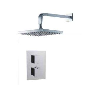 Fluid Faucets FT1SQ WALL Square Thermostatic Shower Kit with Wall Mounted Shower Arm, Chrome, 1 Pack   Shower Systems