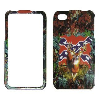 Apple iPhone 4 and 4s Deer & Rebel Flag on Camo Camouflage Hard Plastic Cover,Case, Face cover, Protector Cell Phones & Accessories