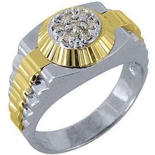 Mens Rolex Ring Inverted Two Tone Gold Round Diamond Ring .45 Carats Jewelry