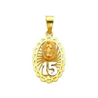 14K 3 Tri color Gold 15 Anos Charm Pendant for Necklace   Gold Jewelry Jewelry