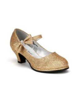 Little Angel Tasha 685E Glitter Bow Mary Jane Pump (Toddler/Little Girl /Big Girl)   Gold (Size Toddler 9) Pumps Shoes Shoes