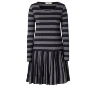 Orla Kiely Women's Simple Cotton Jersey Dropped Waist Dress Navy / Grey Melange XS Simple Cotton Skirts