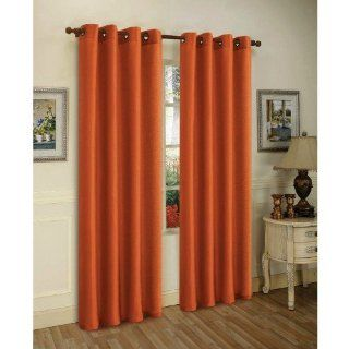 2 Piece Solid Orange Faux Silk Grommet Curtain Panel 58 by 84 Inch   Window Treatment Panels