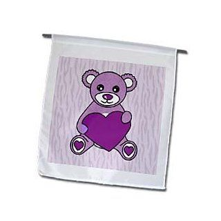 3dRose fl_15378_1 Valentines Day Cute Purple Teddy Bear Holding Heart Garden Flag, 12 by 18 Inch  Outdoor Flags  Patio, Lawn & Garden