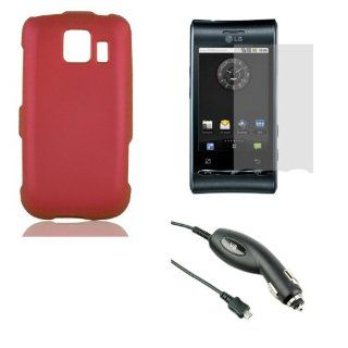 [LG LS670 Optimus S / U / V] Accessory Bundle Combo   Rubberized Snap on Hard Shell Case (Red) + Anti Glare Screen Protector + Rapid Car Charger Cell Phones & Accessories