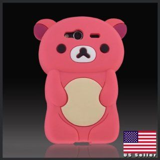 Zany 3D Dark Pink Big Teddy Bear Hybrid case cover for HTC Wildfire S 2 G13 Cell Phones & Accessories